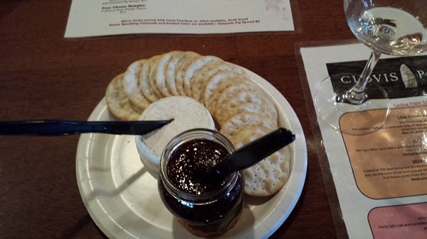 clovis point brie crackers and fig spread